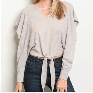 Grey Knit Open Sleeves Tie Front Sweater